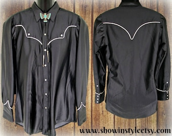 cc7abf690eb4 Rockmount Ranch Wear, Vintage Western Men's Cowboy Shirt, Rodeo Shirt,  Shiny Black, Tag Size 15 1/2 (approx. Medium - see meas. photo)