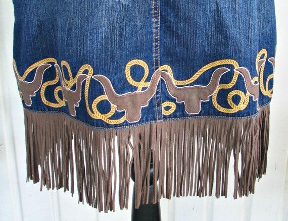 Wrangler Vintage Western Retro Cowgirl Skirt, Fri… - image 6