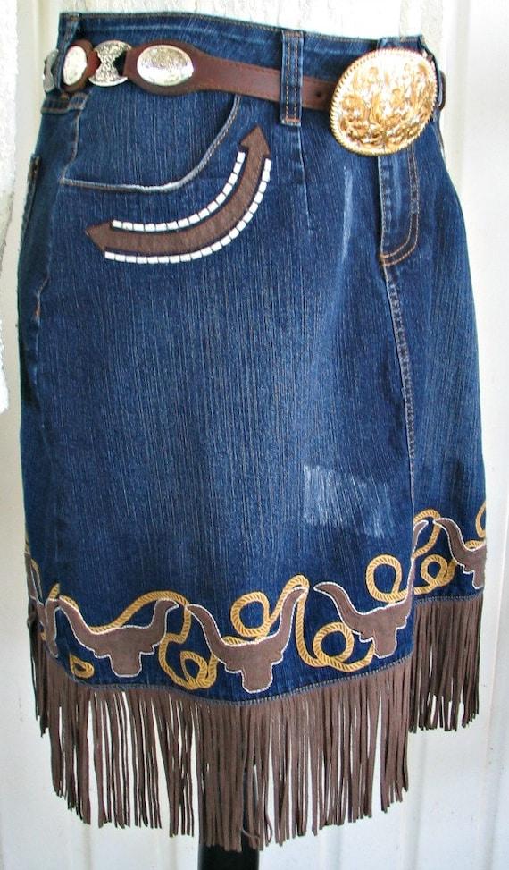 Wrangler Vintage Western Retro Cowgirl Skirt, Fri… - image 4