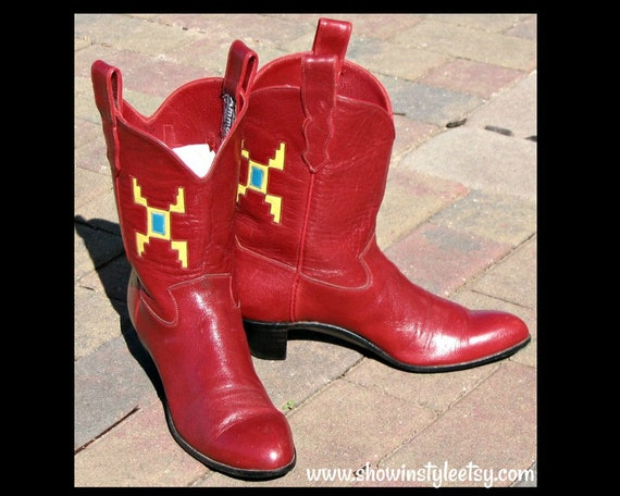 Vintage Stitched Ammons Cowboy Boots Size 9.5 Womens