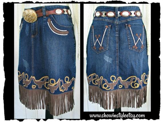 Wrangler Vintage Western Retro Cowgirl Skirt, Frin