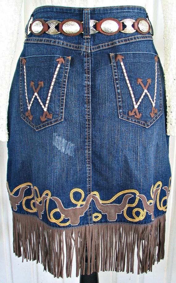 Wrangler Vintage Western Retro Cowgirl Skirt, Fri… - image 5