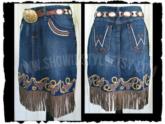 Wrangler Vintage Western Retro Cowgirl Skirt, Fri… - image 1