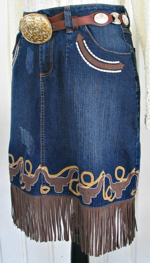 Wrangler Vintage Western Retro Cowgirl Skirt, Fri… - image 3