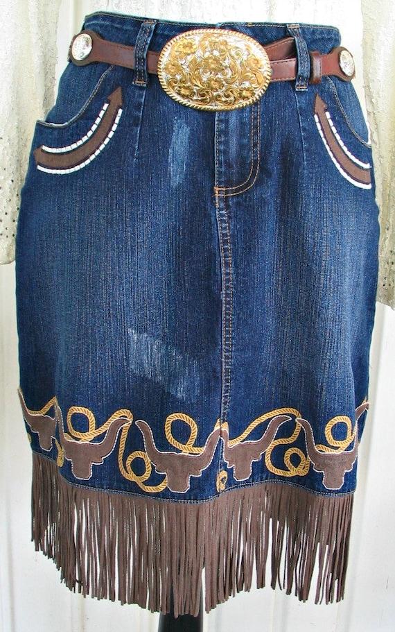 Wrangler Vintage Western Retro Cowgirl Skirt, Fri… - image 2
