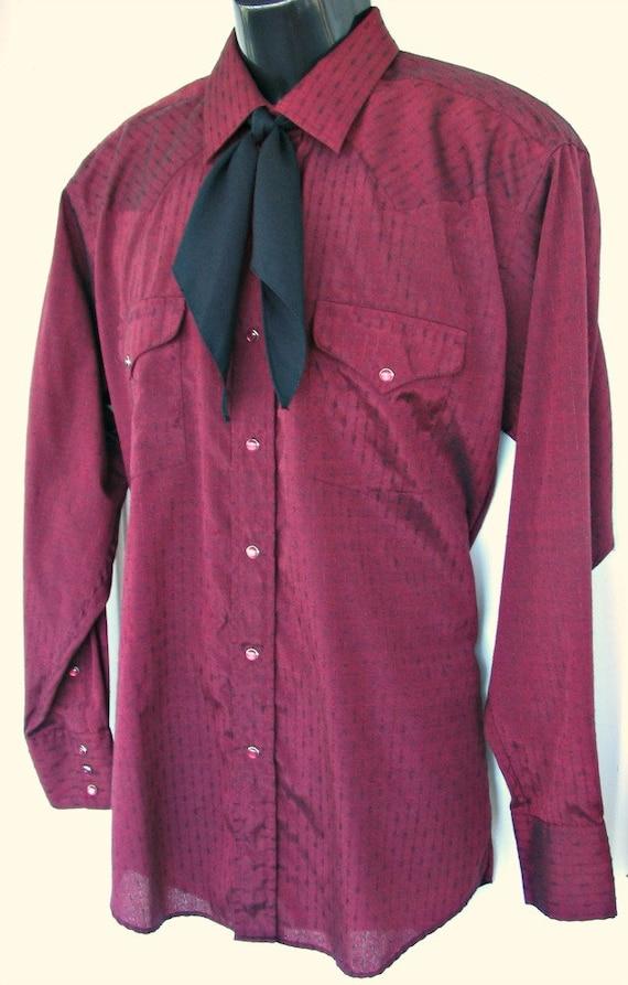 0bfa6a683957 Panhandle Cowboy chemise, Slim Bourgogne, étiquette de taille 16-1 2- ...