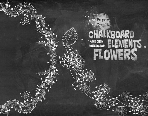 chalkboard elements flowers watercolor clipart bouquets etsy
