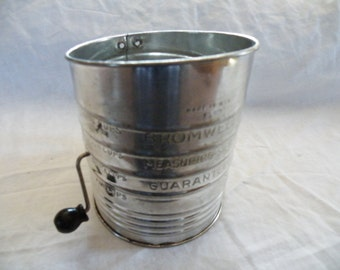 Vintage Kitchen Utensil, Bromwells Measuring Sifter, Five Cup Flower Sifter, Mid Century Kitchen Tool
