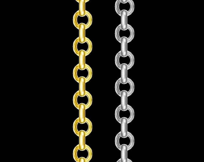 Cable link chain necklace in 14k yellow or white gold, 0.80mm, lobster claw clasp; 16, 18 or 20 inches.