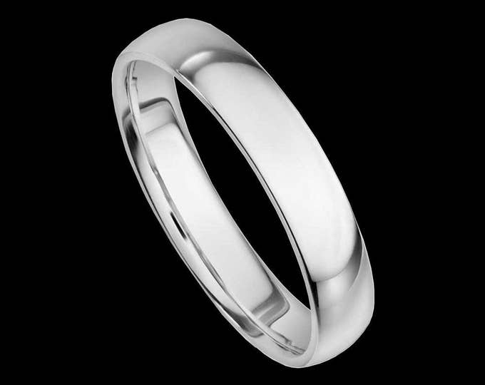A 14K Bold 4MM Reflection Band in White or Yellow Gold #C95