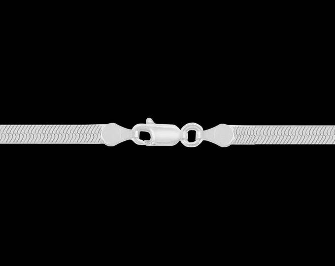 Herringbone chain necklace in 925 sterling silver, 4.50mm, lobster claw clasp; 16, 18, 20, 22, or 24 inches.