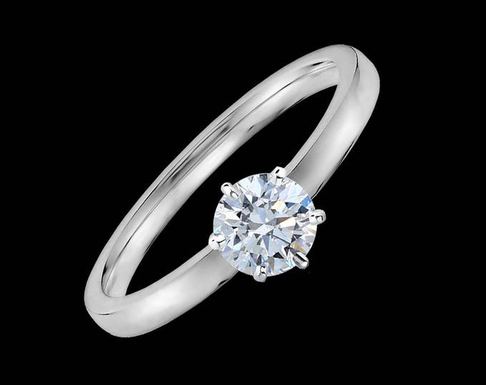 Lewi's 1/2 carat GIA certified diamond engagement ring in 14k white gold.