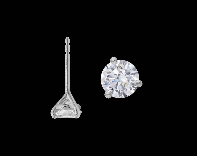 Martini Diamond Stud Earrings in 14k Gold or Platinum (0.46-2.00tcw) + GIA Report