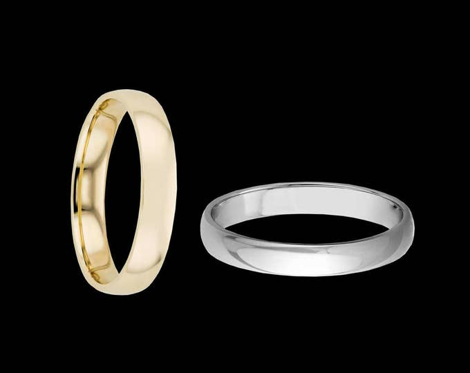 A 3MM Classic Fit 14K Reflection Band in White or Yellow Gold #C94