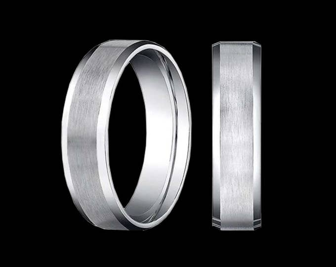 A Suave & Comfortable 3MM Polished Satin - Beveled Edged Wedding Band in 14K White Gold #C88