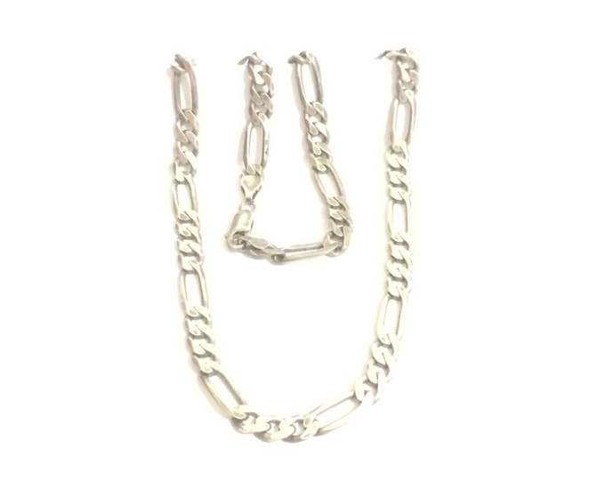"A Heavy Statement 20"" Italian Mid-Century Figarucci Chain Necklace / Sterling Silver, Spring Clasp, 4MM Wide, 32.45 Grams #4197"
