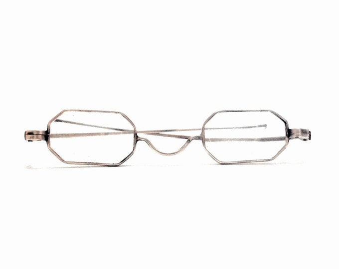 "A Pair of Late 19th Century Art Deco (functional) Reading Glasses/Sterling Silver, Frames 4x1x.25"", 5"" Sterling Ear Hooks, 10.29 Grams #3435"