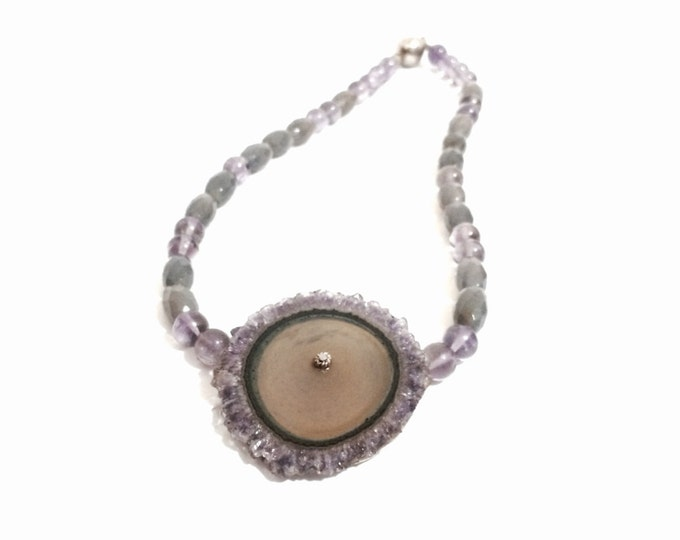 "J. Adelson Modernist Designer 18"" Amethyst Beaded Necklace / Sterling Silver, Main-Stone: 2x1.75x.25"", 58.35 Grams #4139"