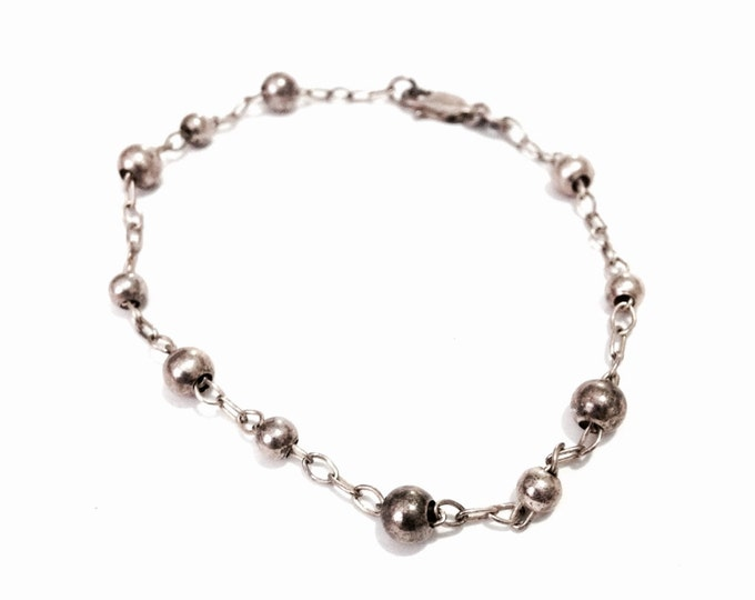 "An Elegant 1930-40's Art Nouveau 8"" Ball Beaded Cable Link Chain Bracelet / Sterling Silver, Spring Clasp, 3.30 Grams #3990"