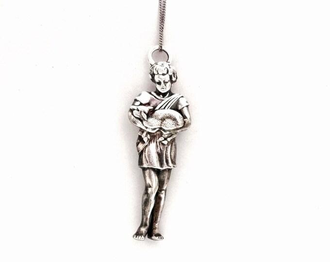 "Lunt art nouveau Christmas angel-cherub (ornament-pendant) in solid sterling silver, 3x1x.3"", 36.8 Grams #3433"