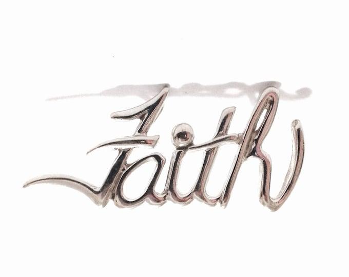"""A 1960-70's Retro-Modernist """"Faith"""" Monogram/Embossed Slide Pendant-Charm / Sterling Silver, 1.75x.75x.35"""", 3.32 Grams #3388"""