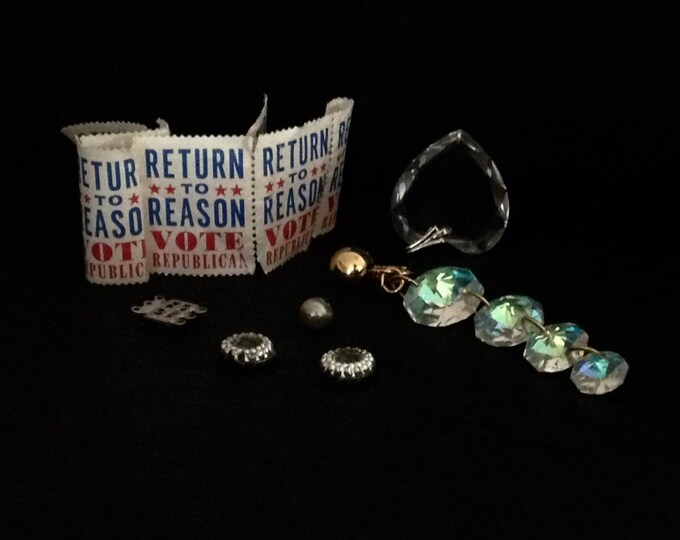 Mini Vintage Estate Lot, Stamps, Glass Heart Pendant, Crystal/bead Findings C. 1960, 17.43Grams #2383