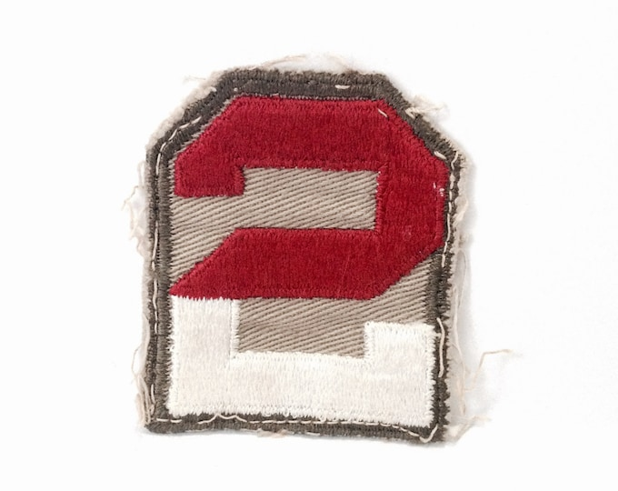 """A Rare-Important WWII Second Unites States Army Military Uniform Patch, 2.5x2"""" #4098"""