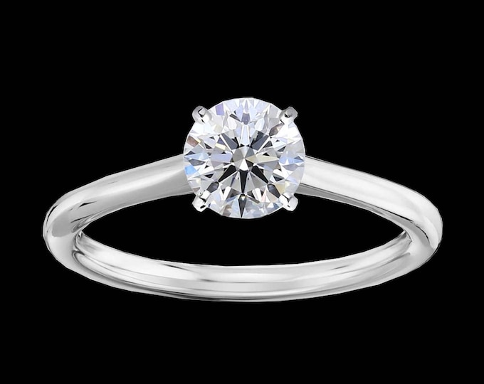 À l'Intérieur Impeccable 1.00 Carat Round Brilliant GIA Graded Solitaire Diamond Engagement Ring In Gold  (VS2/J/IDEAL) #C110