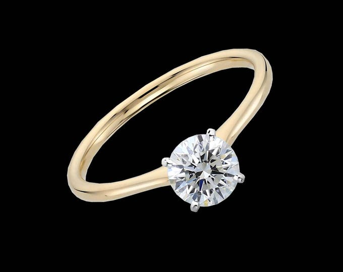L'amour-Unique 1.00 Carat Round Brilliant GIA Graded Solitaire Diamond Engagement Ring In Gold  (VS2/J/IDEAL) #C109