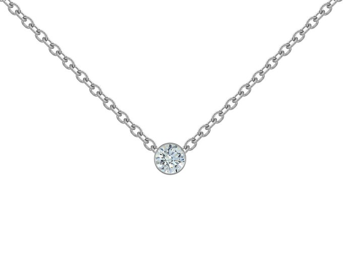 Diamond Necklace in 14k White Gold (.03-ct)