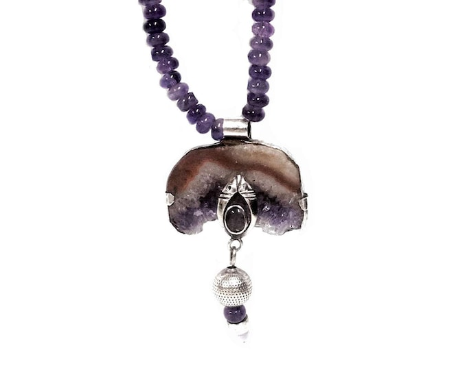 "J. Adelson Designer Handcrafted Amethyst & Sterling Silver Pendant - Beaded Necklace, 15"" Chain, Pendant: 2.5x1.5x.25"", Weighs 1.4OZ #2326"