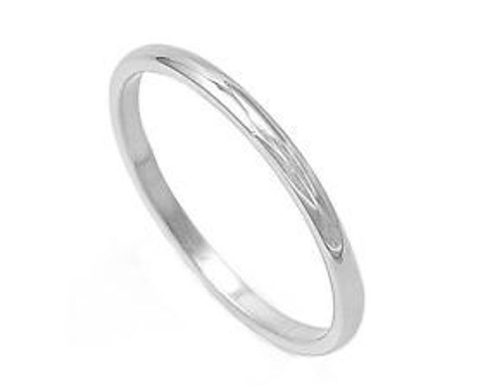 A Suave Custom White Gold Wedding Band Ring / 10K Yellow Gold, 2mm Width #C4
