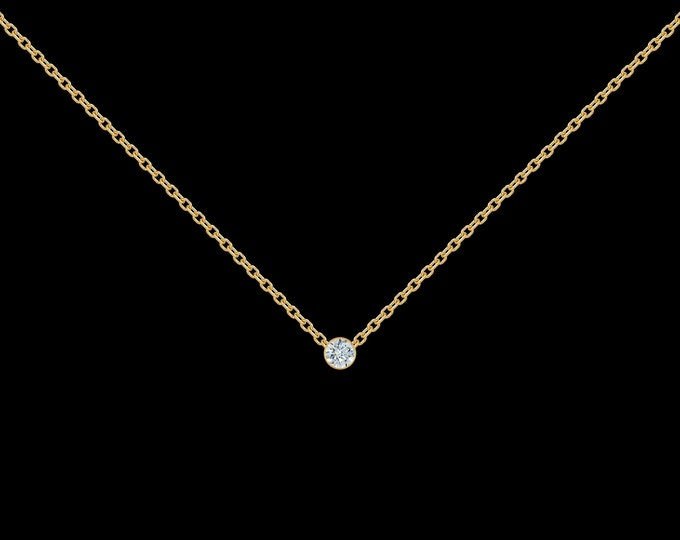 Diamond Necklace in 14k Yellow Gold (.03-ct)