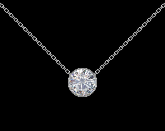 1 ct GIA Diamond Necklace in 14k White Gold