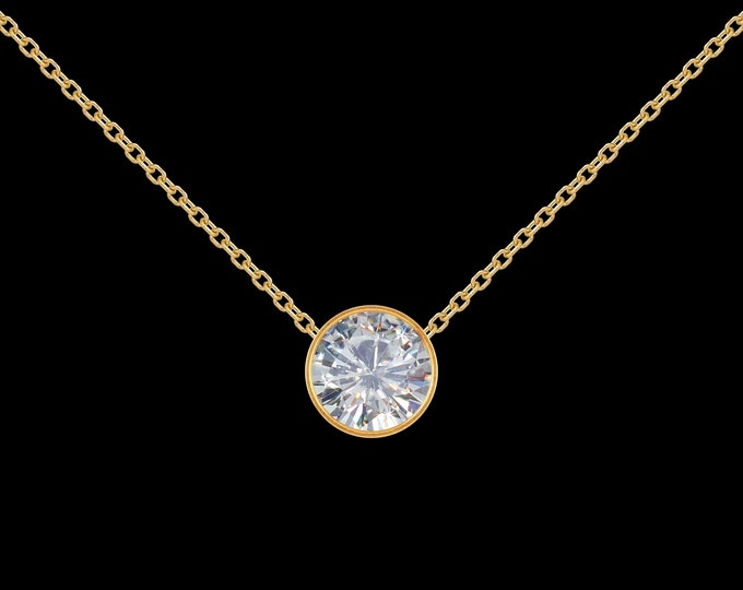 1 ct GIA Diamond Necklace in 14k Yellow Gold
