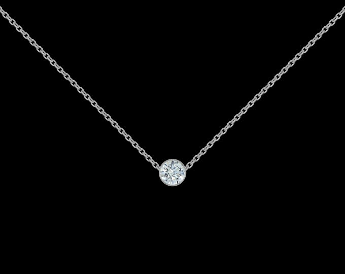 1/8 ct Diamond Necklace in 14k White Gold
