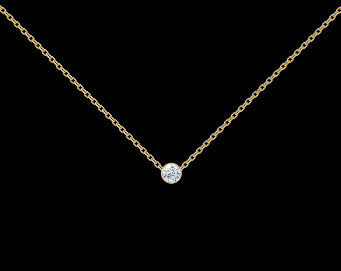 Diamond Necklace in 14k White Gold, 14k Yellow Gold, or Sterling SIlver (.07-ct)