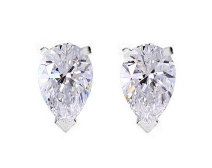 Pair of GIA Graded 40 Point (VG-Cut)(D-Color)(VVS1) Fancy Cut Pear Diamond Stud Earrings In 14K White or Yellow By C. L. Lewis (0.8TCW) #C51
