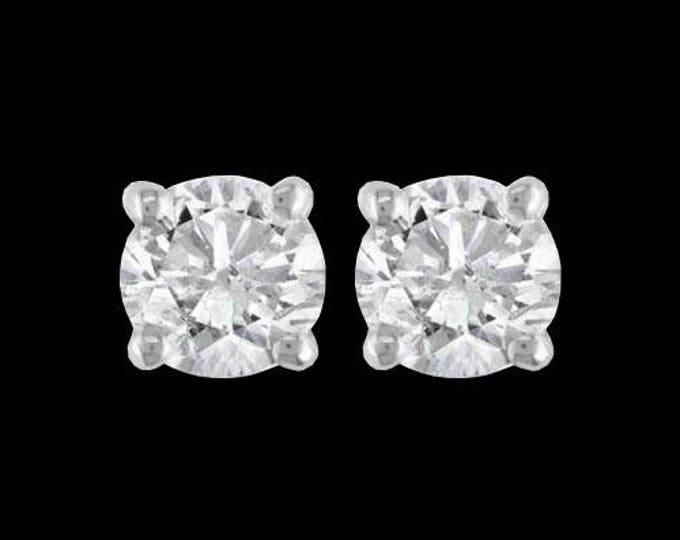 A Pair of 1/2 TCW Natural White Diamond Studs In Polished 14K White Gold Basket Settings #C125