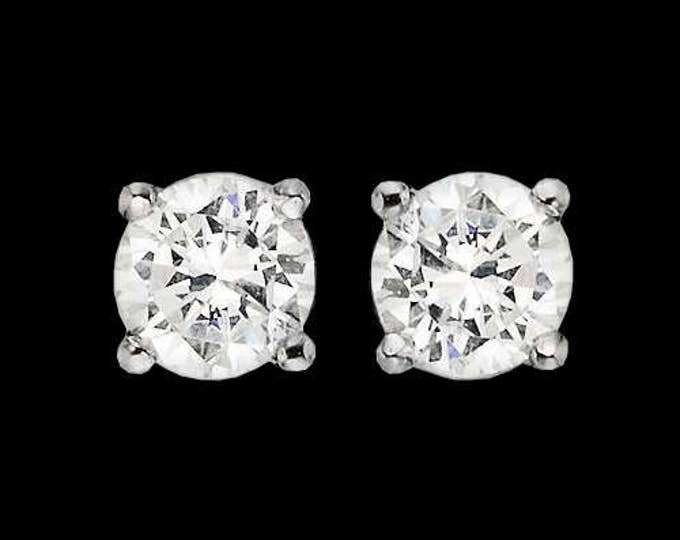 1.00 TCW Natural Diamond Stud Earrings In 14K White Gold #107