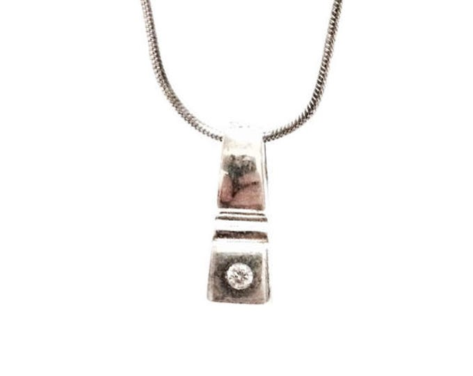 "A Minimalist Solitaire cz Diamond Pendant / Sterling Silver on a 16"" 925 Italian Serpentine Chain Necklace, .75x.25x.25"", 5.20 Grams #3453"