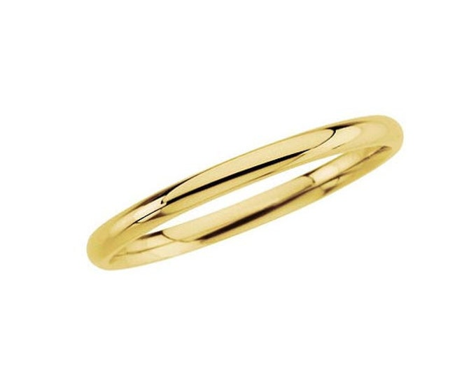 A C. L. Lewis Wedding Band Crafted in 14K Yellow Or White Gold - Chic Half Round 2mm Band, SZ4-14 Avail #C57
