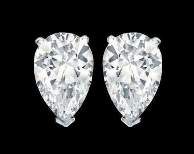 1.00 TCW Fancy Cut Pear Diamond Studs in 14k White Gold By C. L. Lewis (VVS1-D-VG) + GIA Diamond Dossier's #C86