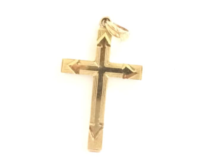 A 1910-20's Art Deco Cross (or) Crucifix Pendant - Medallion / 10K Yellow Gold,  2.5x1.5 cm, .5 Grams #4262