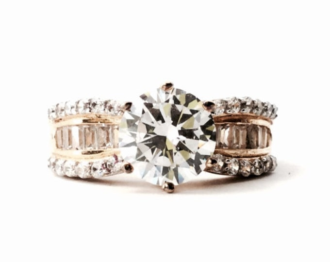 A Classic Mid-Century Seta Solitaire cz Diamond / pave ring, 36/37 Stones Remain. GP Sterling Silver, 5.81, USA Ring Size 7.25 #3134