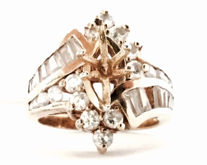 "A Mid-Century Designer Seta GP/Sterling Ring Setting for a .45x.25"" Stone,35/36 cz Pavé Diamonds Remaining,USA Ring Size 7, 6.44 Grams #3129"