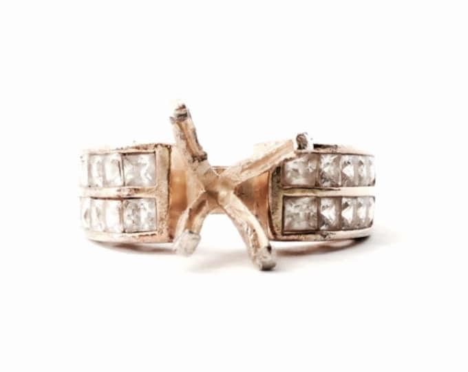 An Art Nouveau Designer Signed Seta Ring Setting, 19/20 cz Diamond Stones Remain, GP Sterling Silver, 4.16 Grams, USA Ring Size 6.25  #3123