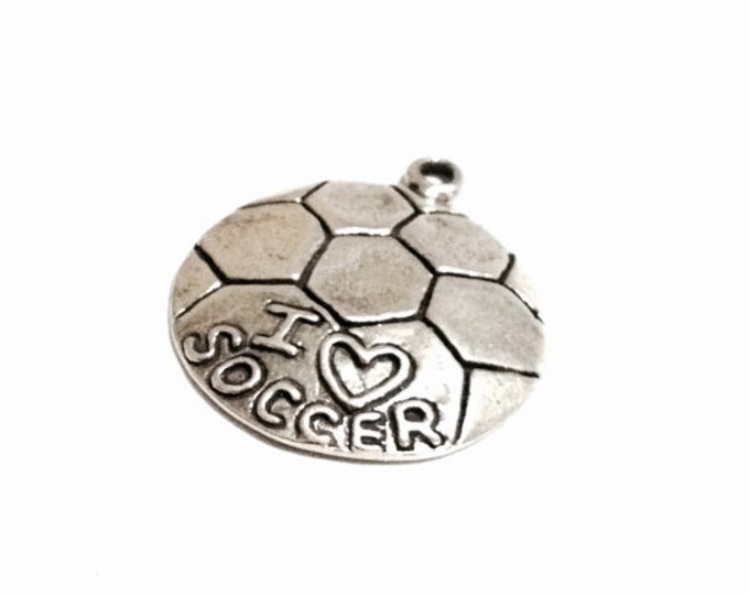 """A Cute 1950's Soccerball Pendant/Charm Embossed w/ """" I <3 Soccer"""" / Sterling Silver, .75x1x.18"""", 3.28 Grams #3247"""