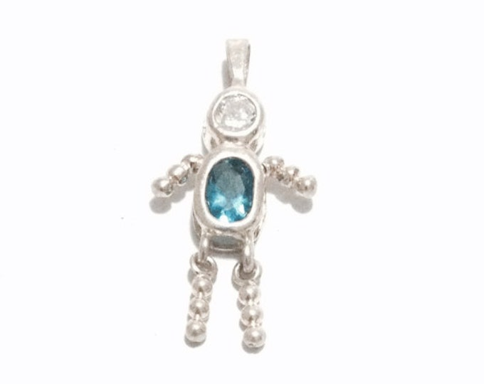 "A Cute Miniaure cz Blue Sapphire & Diamond Embossed Human-Person Pendant-Charm / Sterling Silver, 1.25x.5x.25"", 1.8 Grams #3361"