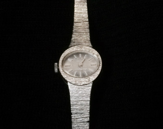 """A Suave Mid Century Jules Jurgenson 1740 Fully Functionall Manual Windup Womans Wristwatch-Timepiece, 8"""" Long, 18.50 Grams #3165"""